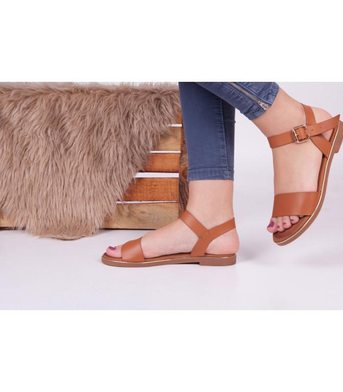 Sandales Plat Camel