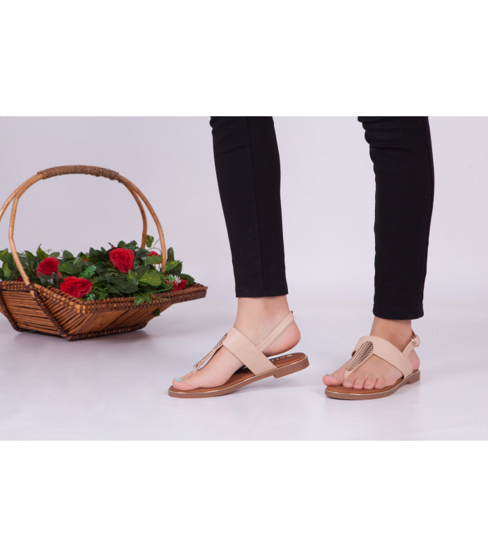 Sandales Plat Beige