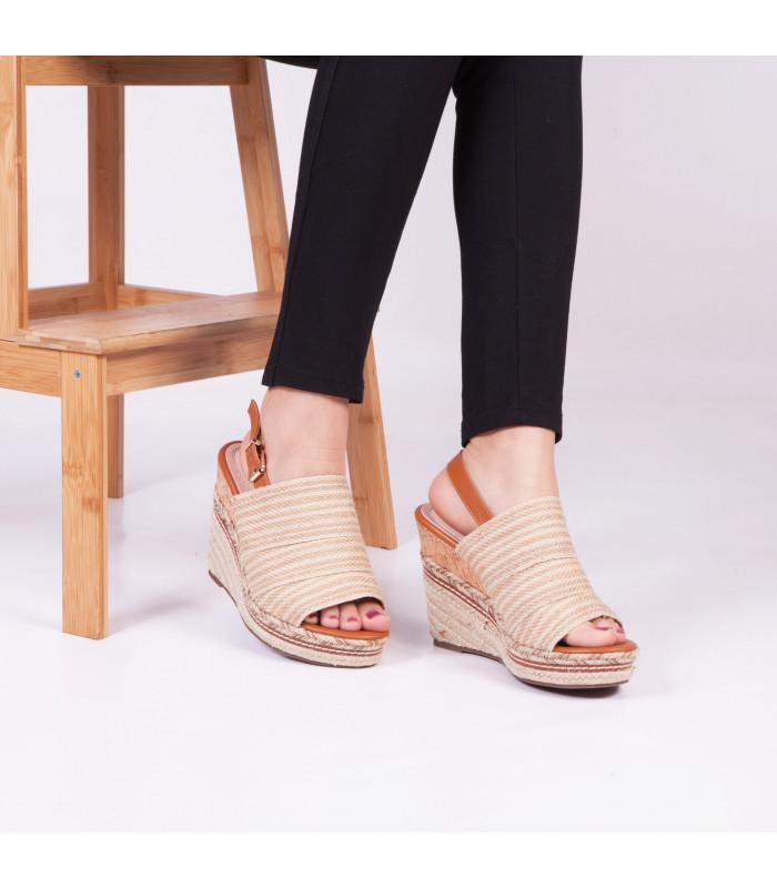 Sandale compensée Sali Beige