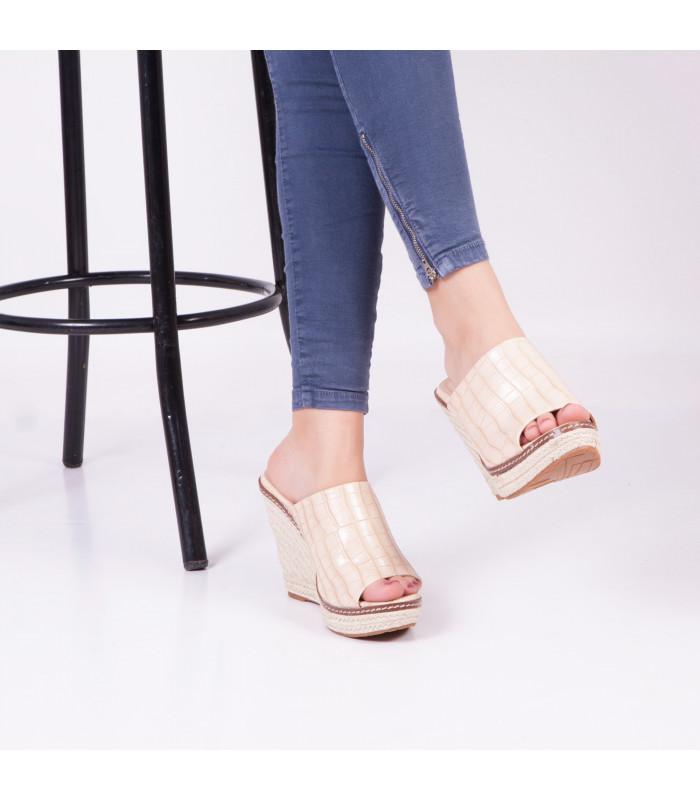 Sandale compensée Zalune Beige