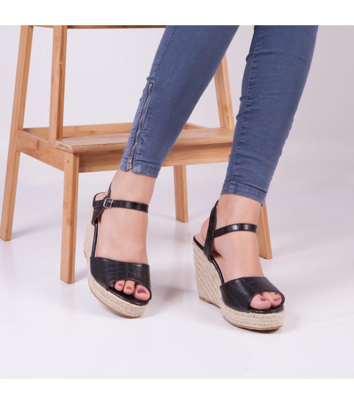 Sandale compensée Fuina Noir